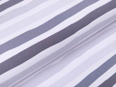 Jersey - Streifen - weiß/grau