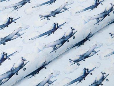 Webware Popeline Baumwolle Digitaldruck - Flugzeuge - hellblau