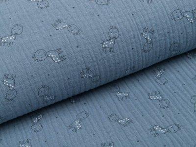 Musselin Baumwolle Triple Gauze - Giraffen - blau