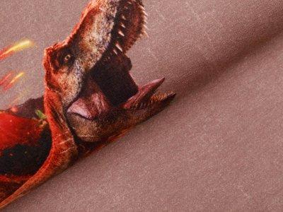 Sweat French Terry Jurassic World PANEL ca. 60 cm x 145 cm - Dinos am Vulkan - schlamm
