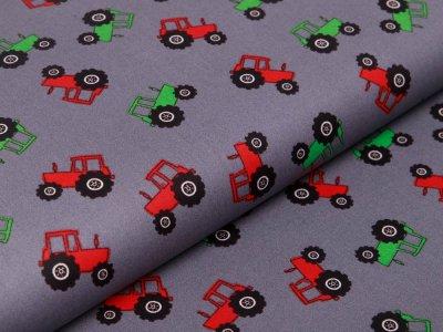 Webware Popeline Baumwolle - Traktoren - grau