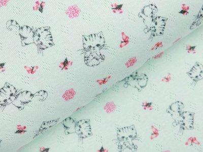Jersey Baumwolle-Feinstrick - Pointoille Lochmuster - süße Kätzchen und Schmetterlinge - mint