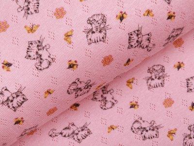 Jersey Baumwolle-Feinstrick - Pointoille Lochmuster - süße Kätzchen und Schmetterlinge - altrosa