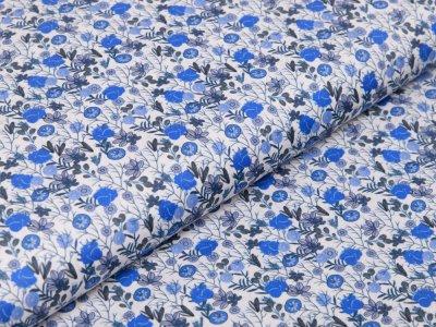 Webware Baumwolle Digitaldruck - Blumen - weiß/blau