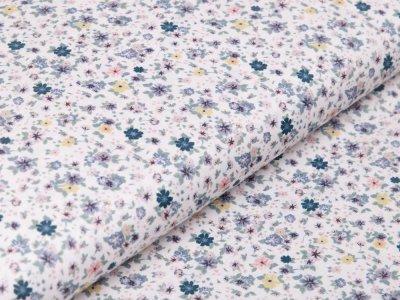 Webware Baumwolle Digitaldruck - Flowers - weiß/grün