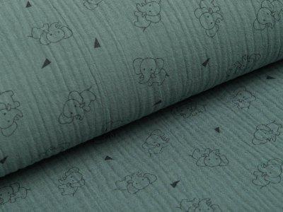 Musselin Baumwolle Triple Gauze - Elefanten -  grün
