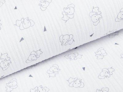 Musselin Baumwolle Triple Gauze - Elefanten -  weiß