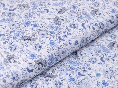 Webware Baumwolle Digitaldruck - Blumenfeld - weiß/blau
