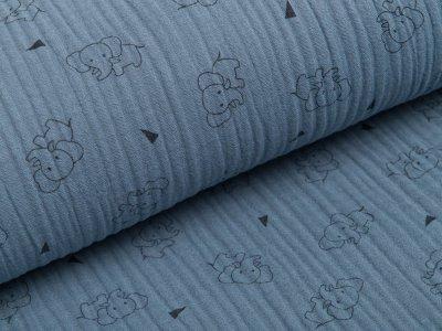 Musselin Baumwolle Triple Gauze - Elefanten -  blau