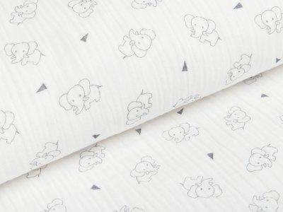 Musselin Baumwolle Triple Gauze - Elefanten -  wollweiß