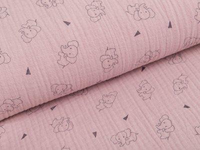 Musselin Baumwolle Triple Gauze - Elefanten -  rauchrosa