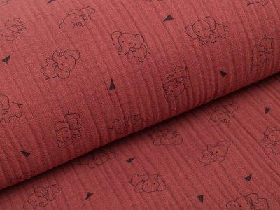 Musselin Baumwolle Triple Gauze - Elefanten -  terra