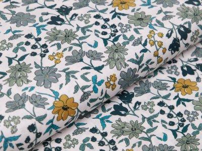 Webware Baumwolle Digitaldruck - Blumen - weiß/grün