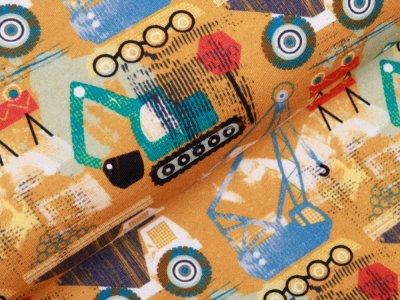Jersey by Poppy Digitaldruck - verschiedene Baufahrzeuge - ocker