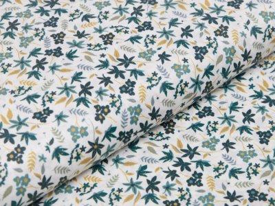 Webware Baumwolle Digitaldruck - Blätter - weiß/grün