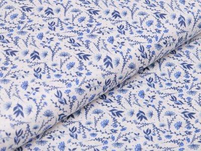 Webware Baumwolle Digitaldruck - Blumen und Blätter - weiß/blau