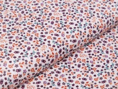 Webware Baumwolle Digitaldruck - kleine Blumen - weiß/terrakotta