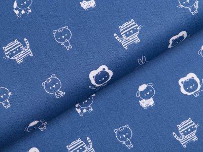 Webware Baumwolle Popeline  - niedliche Tiere - blau