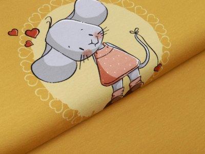 Jersey PANEL ca. 55 cm x 150 cm Erbschen by emmapünktchen - niedliches Mäusemädchen - ocker
