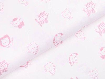 Webware Baumwolle Popeline  - niedliche Tiere - weiß /rosa