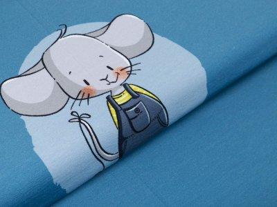 Jersey PANEL ca. 55 cm x 150 cm Böhnchen by emmapünktchen - lustiger Mäusejunge - jeansblau