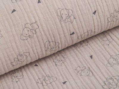 Musselin Baumwolle Triple Gauze - Elefanten -  sand