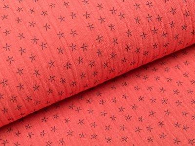 Musselin Baumwolle Triple Gauze - Sterne - orange