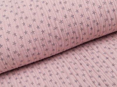 Musselin Baumwolle Triple Gauze - Sterne - rauchrosa