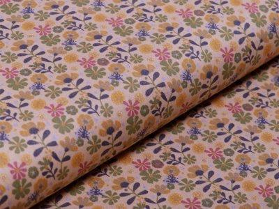 Webware Popeline Baumwolle - Blüten - altgelb