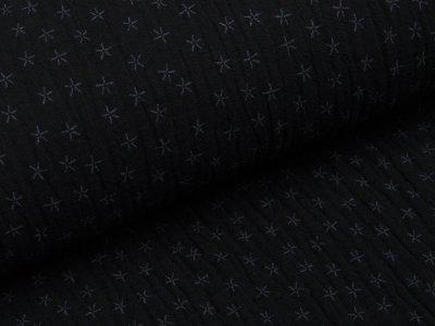 Musselin Baumwolle Triple Gauze - Sterne - schwarz