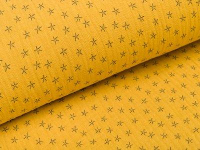Musselin Baumwolle Triple Gauze - Sterne - ocker