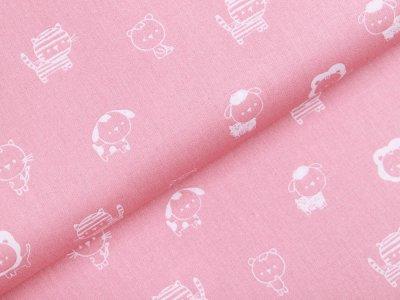 Webware Baumwolle Popeline  - niedliche Tiere - rosa