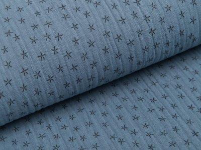 Musselin Baumwolle Triple Gauze - Sterne -  rauchblau