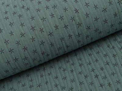 Musselin Baumwolle Triple Gauze - Sterne -  grün