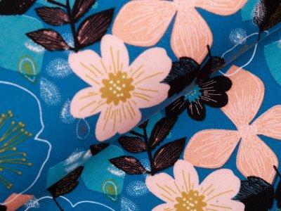Angerauter Sweat Softtouch - wilde Blumen - petrol