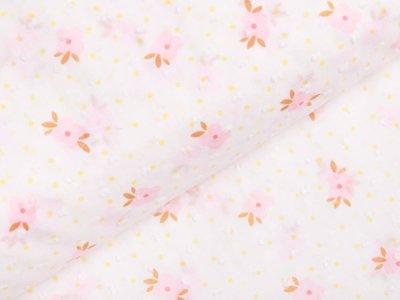 Webware Baumwolle - 3D Punkte und Blüten - weiß