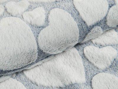 Wellnessfleece Snowtop - Herzen - dunkles blau