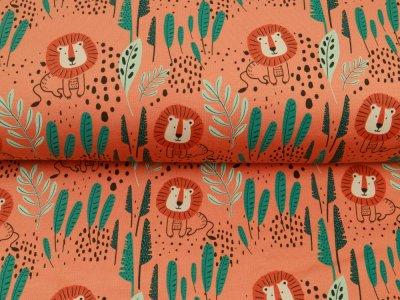 Sweat French Terry Brush - Löwen und Blätter - orange