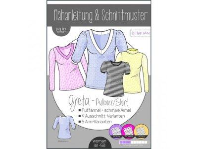 Papierschnittmuster ki-ba-doo GRETA Pullover/Shirt - Damen