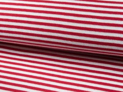 Glattes Bündchen im Schlauch mittlere Streifen rot-weiß