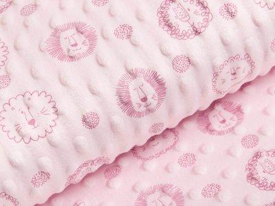 Wellnessfleece Minky mit Noppenprägung - witzige Löwen - rosa