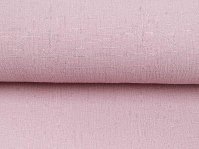 Bambus Musselin Baumwolle Double Gauze Snoozy - Leinenoptik - uni rosa