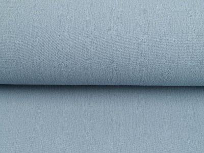 Bambus Musselin Baumwolle Double Gauze Snoozy - Leinenoptik - uni wolkenblau