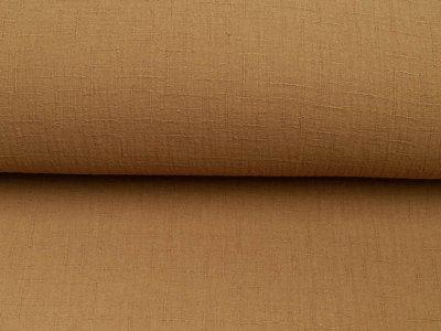 Bambus Musselin Baumwolle Double Gauze Snoozy - Leinenoptik - uni goldbraun