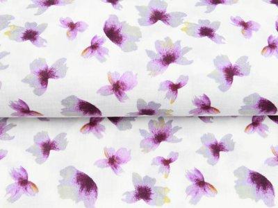Musselin Double Gauze Digitaldruck Mix Meadow Snoozy - Blumen - weiß