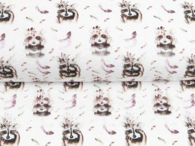 Musselin Double Gauze Digitaldruck Mix Blaze Snoozy - Waschbären und Federn - weiß