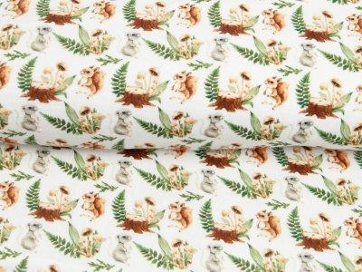 Musselin Double Gauze Digitaldruck Mix Blaze Snoozy - Eichhörnchen und Pilze - weiß