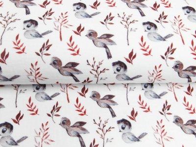 Musselin Double Gauze Digitaldruck Mix Reed Snoozy - putzige Vögel und Zweige - weiß