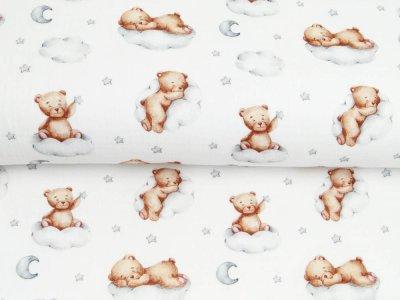 Musselin Double Gauze Digitaldruck Mix Cloudy Snoozy - Bären auf Wolken - weiß