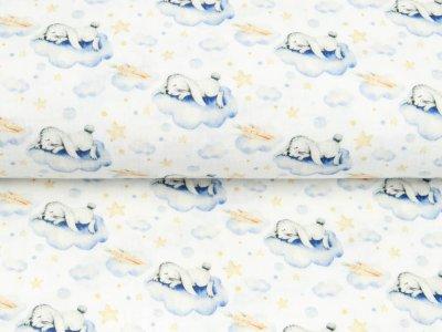 Musselin Double Gauze Digitaldruck Mix Cloudy Snoozy - träumende Hasen auf Wolken - weiß